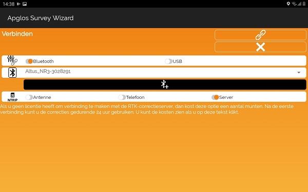 Abonnementsvrij RTK signaal, selectie in Apglos Survey Wizard