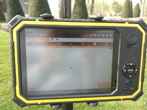 Landmeetapp Apglos Survey Wizard op Apglos Armor tablet