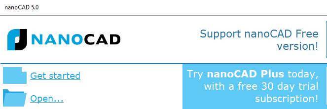 NanoCAD pop-up voor openen