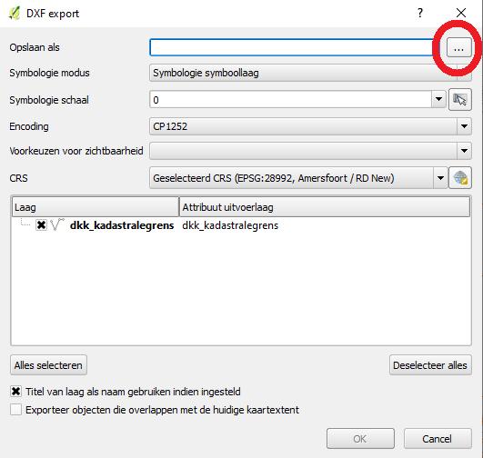 QGIS DXF exporteerscherm