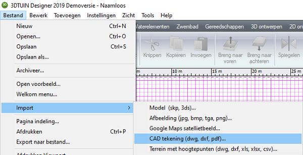 DXF importeren in 3D TUIN Designer