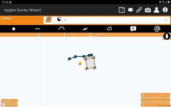 Ingelezen bestand van 3D TUIN Designer in Apglos Survey Wizard