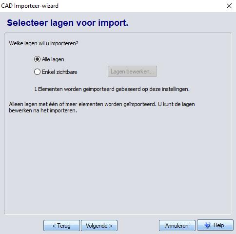 Lagen van te importeren DXF-3D TUIN Designer
