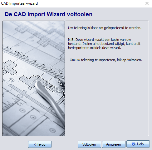 Voltooien import van DXF-3D TUIN Designer