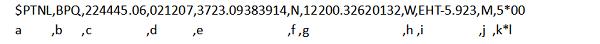 Voorbeeld van NMEA PTNL BPQ regel