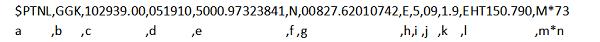 Voorbeeld van NMEA PTNL GGK regel